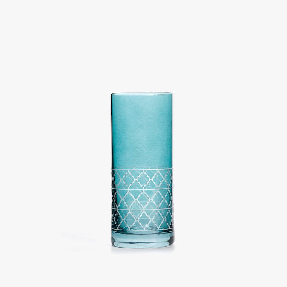 SOFT DRINK TUMBLER WITH DIAMOND BORDER
