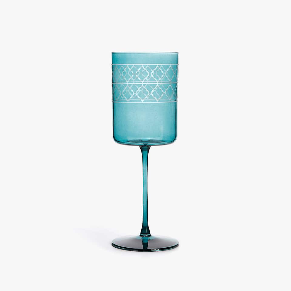 WINE GLASS WITH DIAMOND BORDER