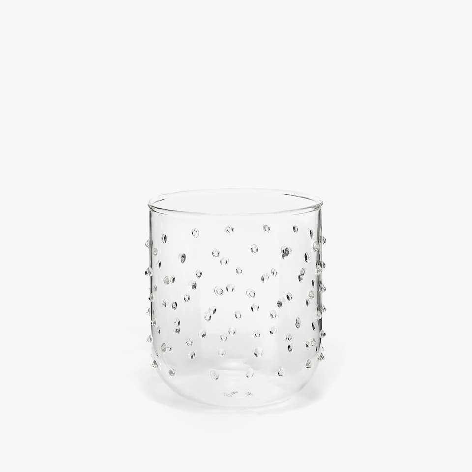 RAISED DOTS BOROSILICATE GLASS TUMBLER