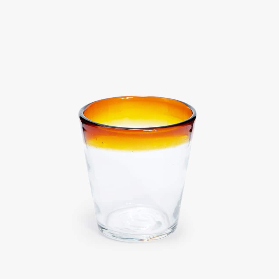 COLOURED RIM GLASS TUMBLER