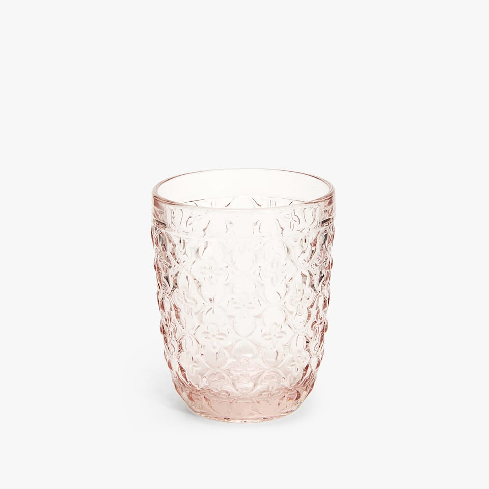 RAISED FLORAL DESIGN GLASS TUMBLER