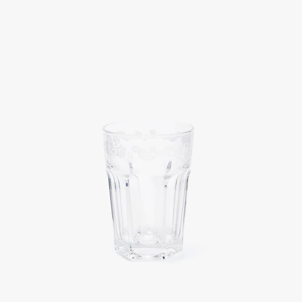 GLASS SOFT DRINK TUMBLER WITH FLORAL BORDER