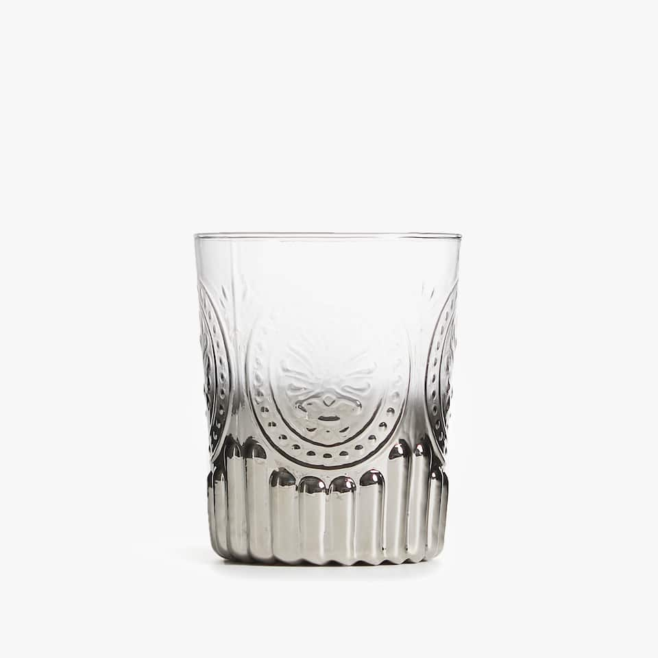 TUMBLER WITH SILVER BASE AND RAISED DESIGN