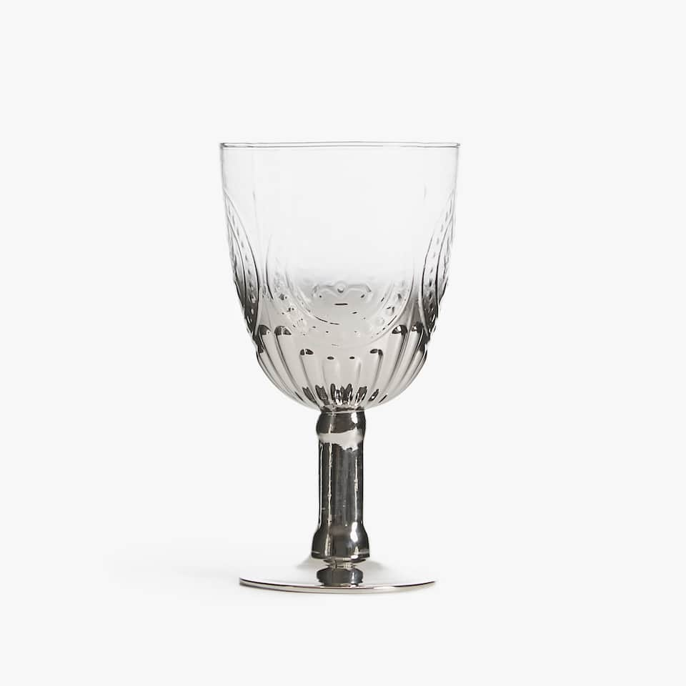 WINE GLASS WITH SILVER BASE AND RAISED DESIGN