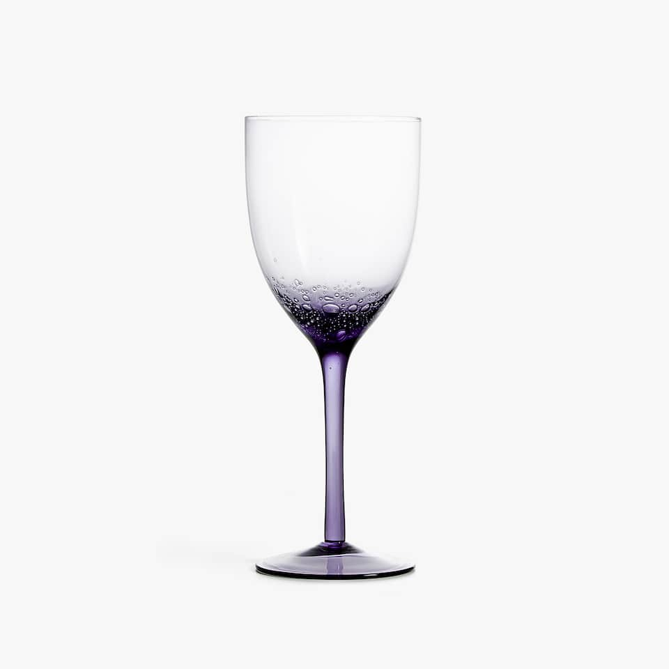 WINE GLASS WITH BUBBLE BASE