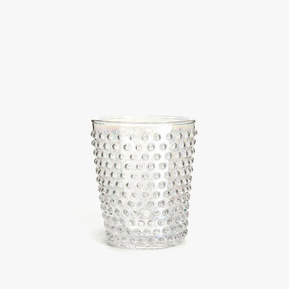 RAISED DOTS GLASS TUMBLER