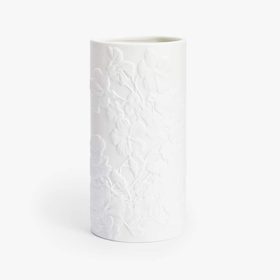 WHITE RAISED-DESIGN CERAMIC VASE