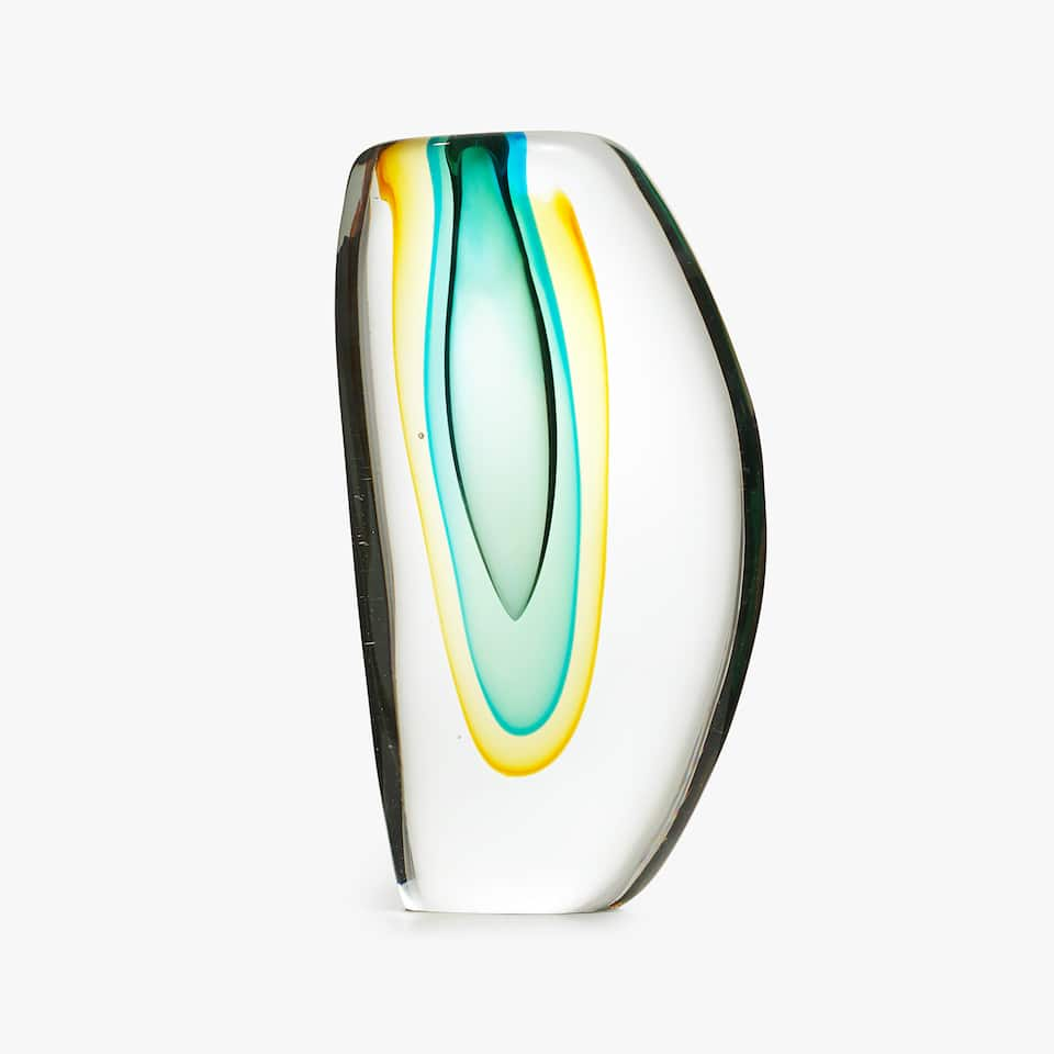 COLOURED GLASS VASE