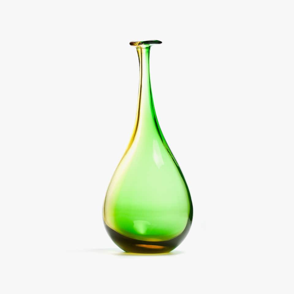 COLORED BOTTLE-SHAPED VASE