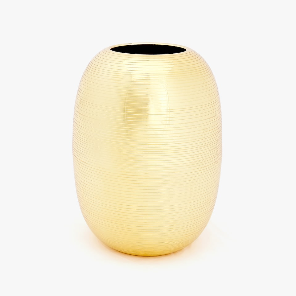 GOLD METAL VASE WITH RAISED DESIGN