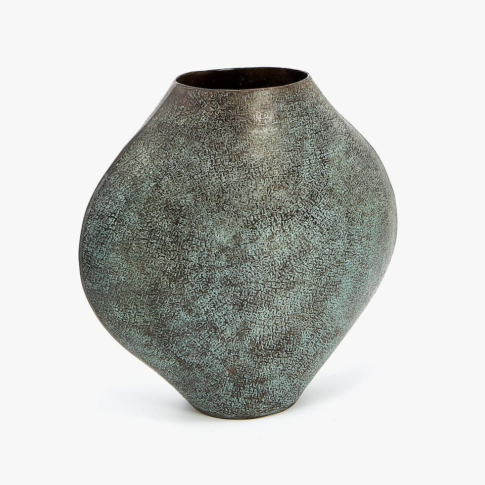 GREENISH METAL VASE
