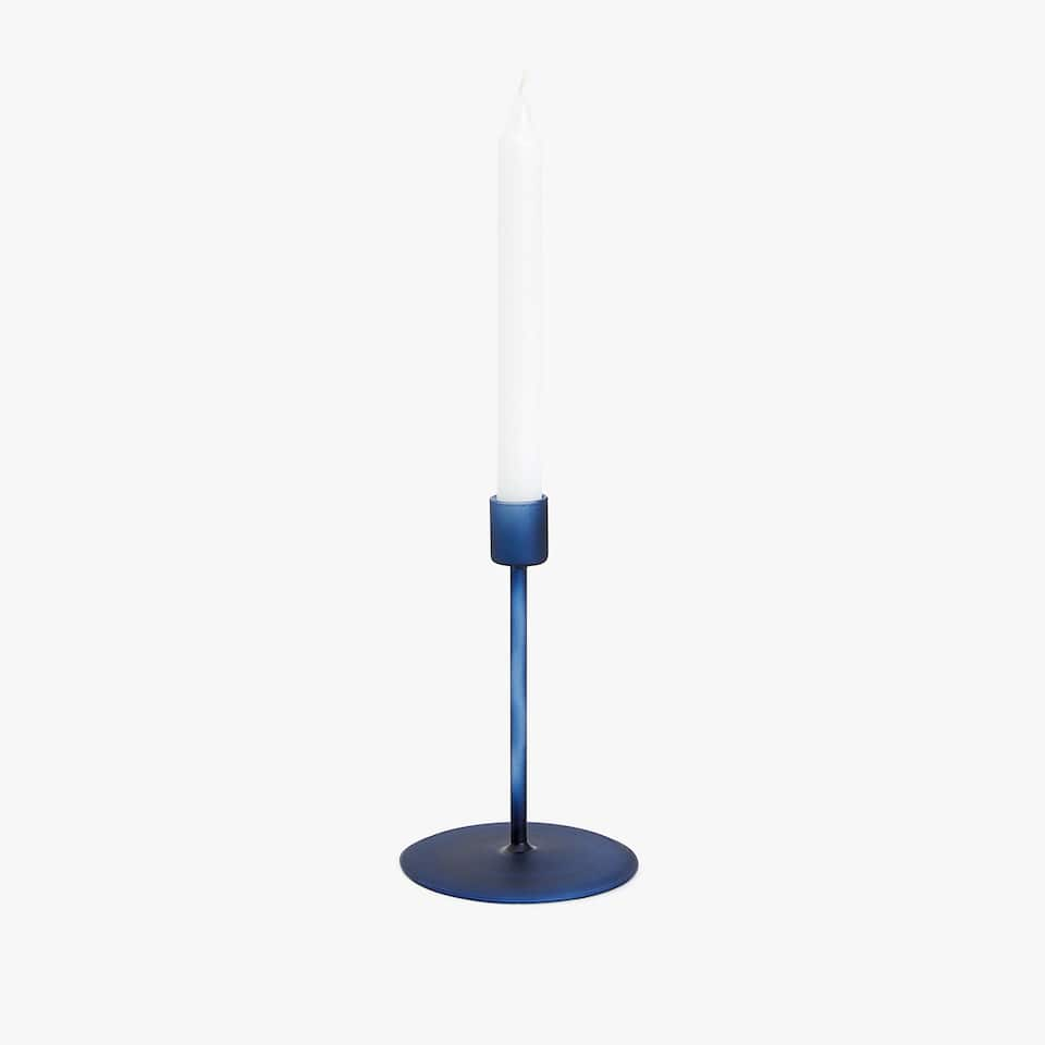 Blue glass candlestick