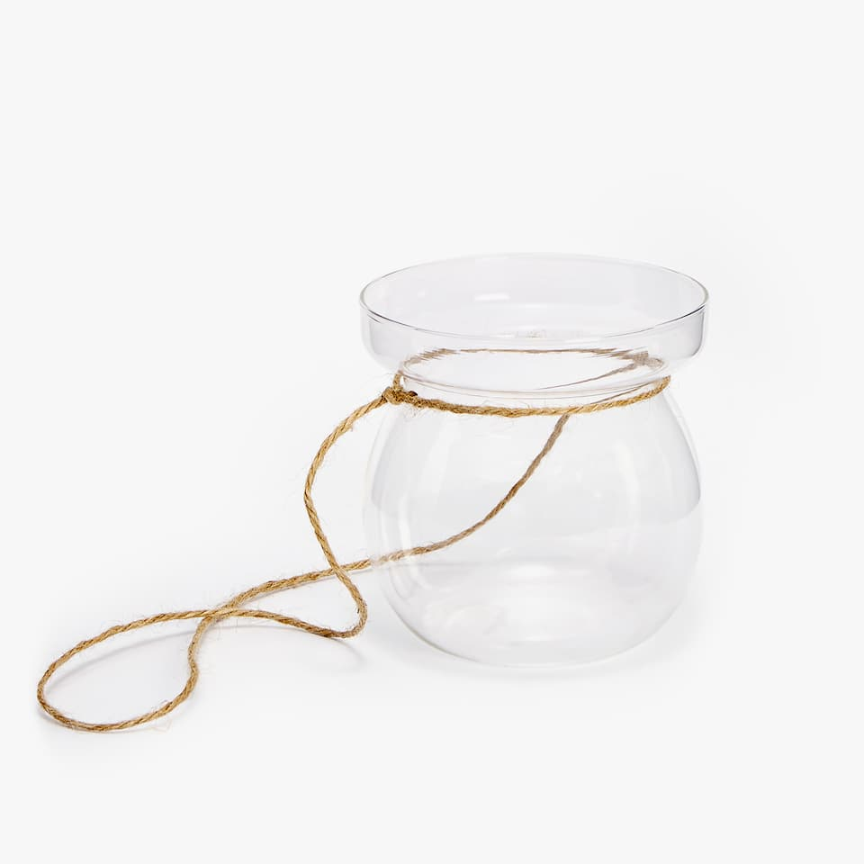 Candleholder with jute handle