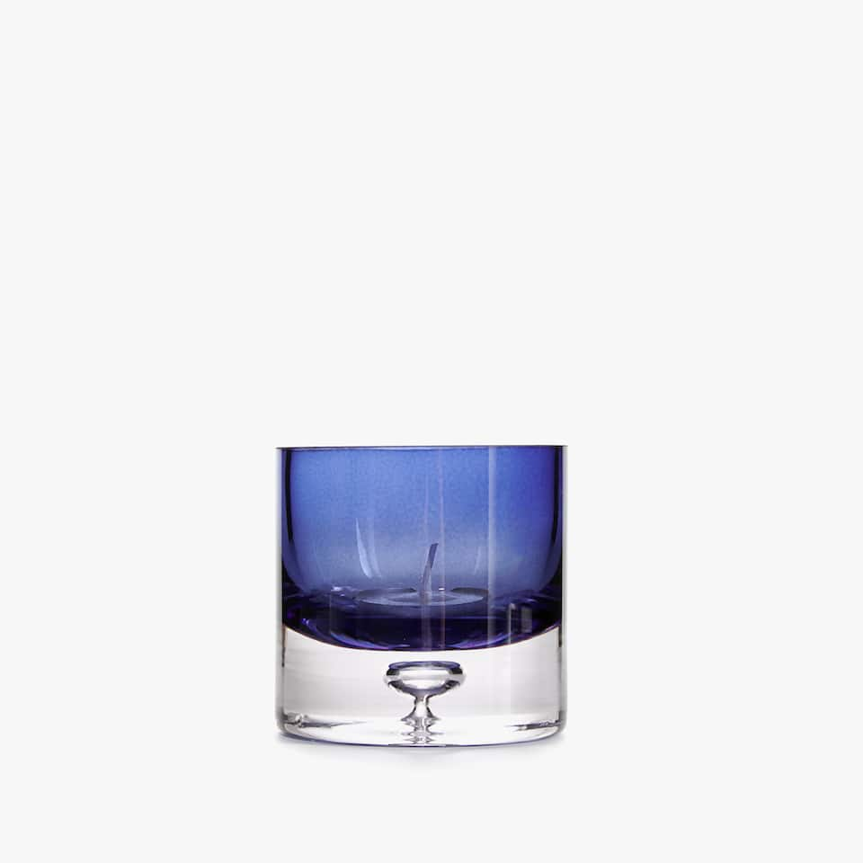 Blue glass tealight holder