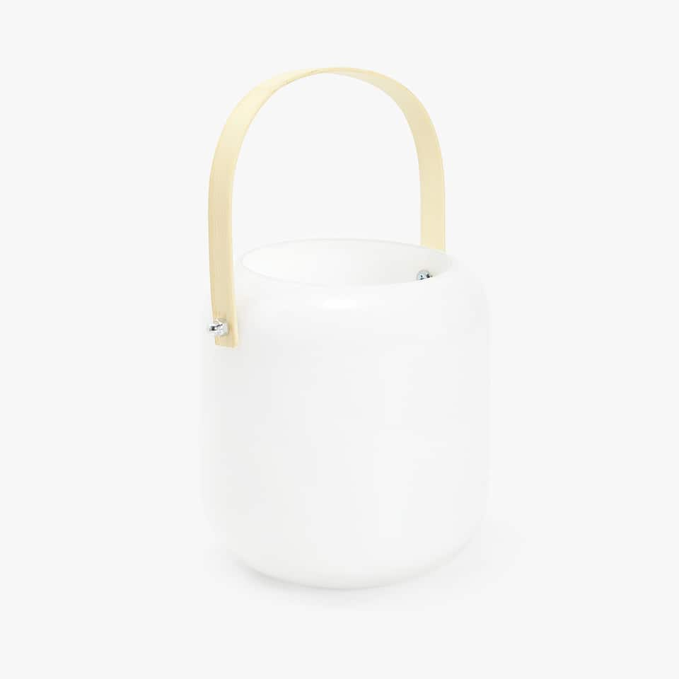 White lantern with handle