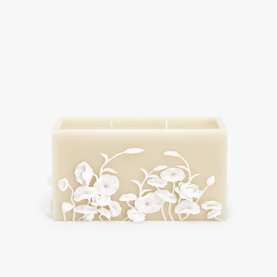 RECTANGULAR CANDLE WITH RAISED FLORAL DESIGN