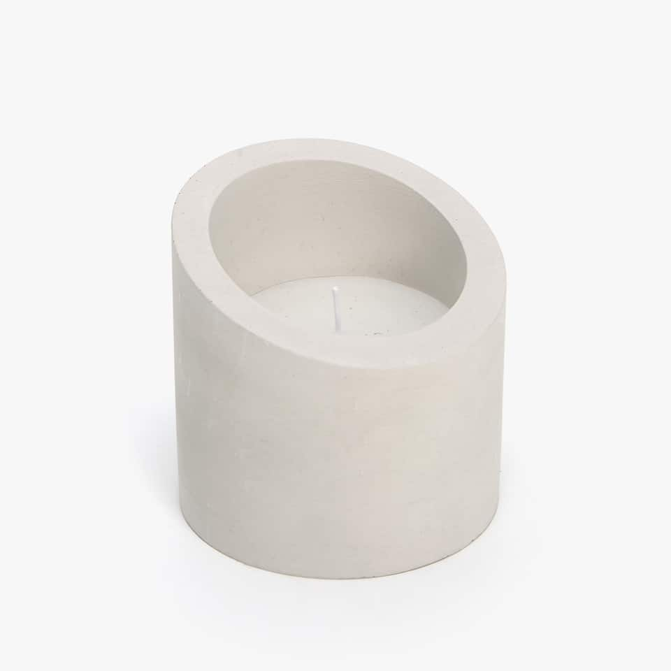CEMENT CANDLE HOLDER WITH IRREGULAR SHAPE