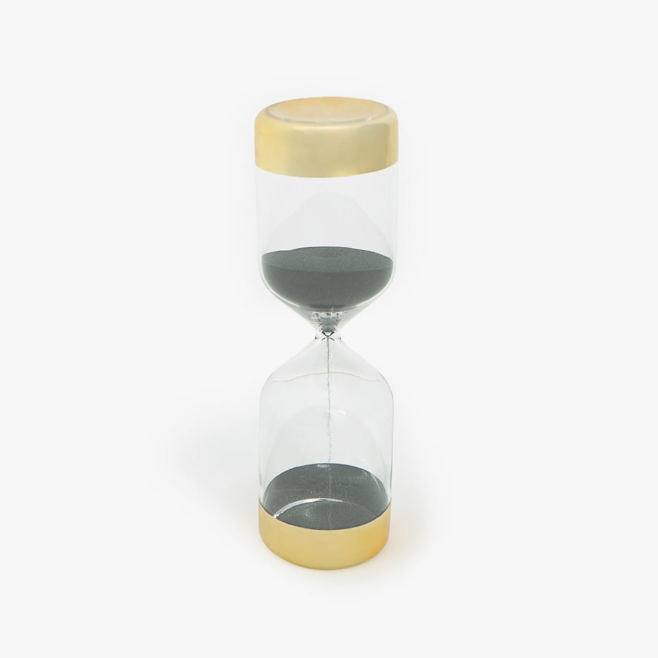 HOURGLASS WITH SILVER ENDS