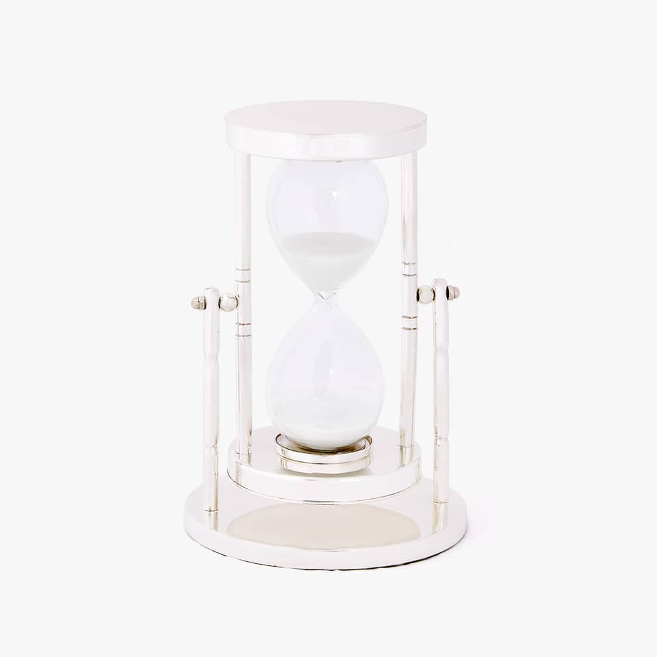 HOURGLASS WITH SILVER STAND