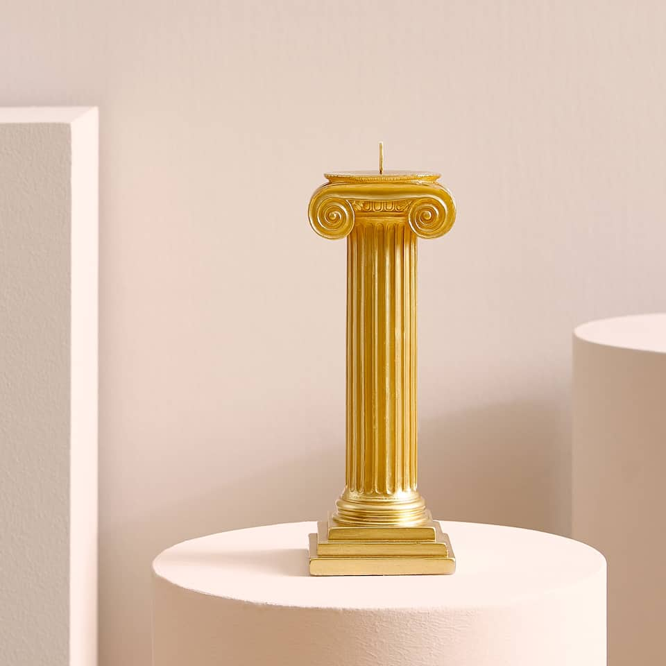 Gold column candle