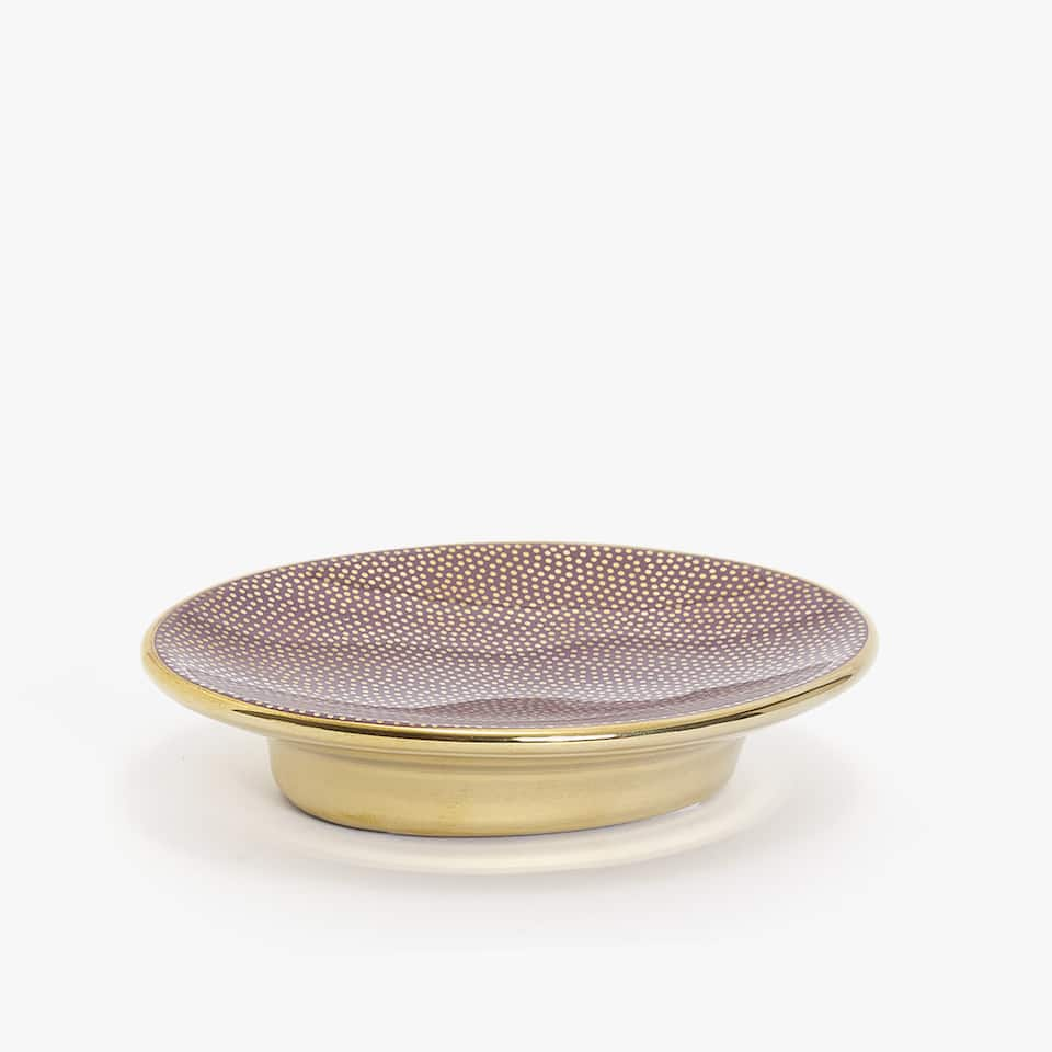 GOLD PRINT CERAMIC SOAP DISH