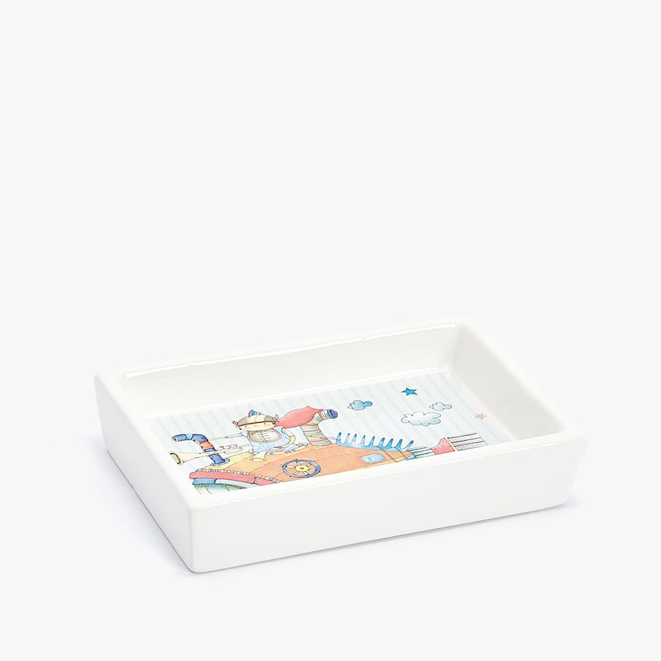 VEHICLES PATTERN CERAMIC SOAP DISH