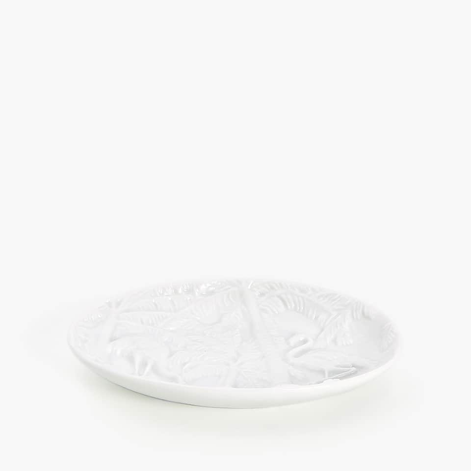 RAISED LEAVES CERAMIC SOAP DISH