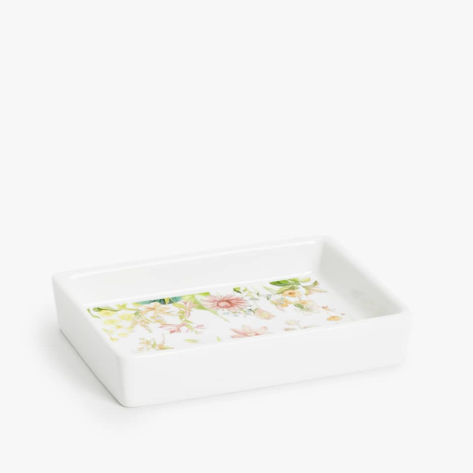 FLORAL CERAMIC SOAP DISH