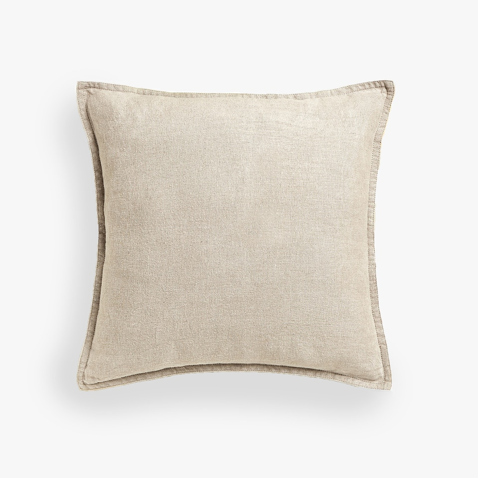 DOUBLE-STITCHED LINEN THROW PILLOW COVER