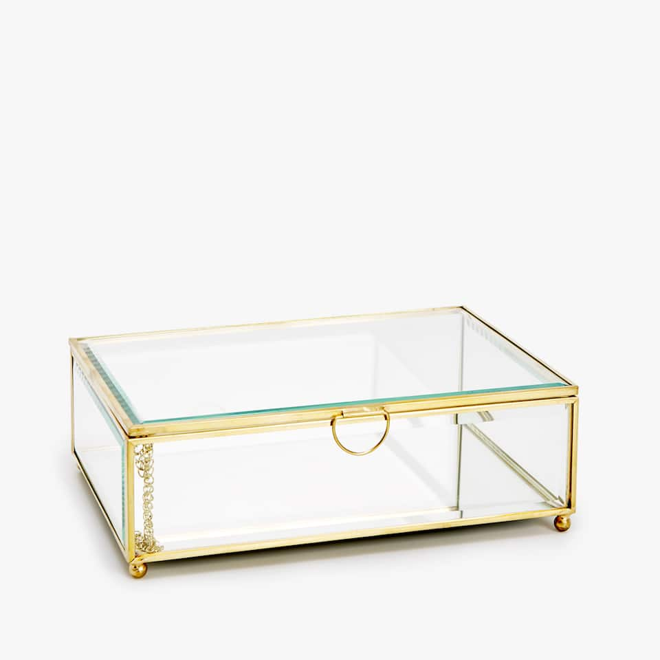 GLASS BOX WITH METAL EDGES