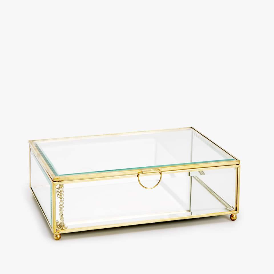 BOX AUS GLAS MIT METALLRAHMEN