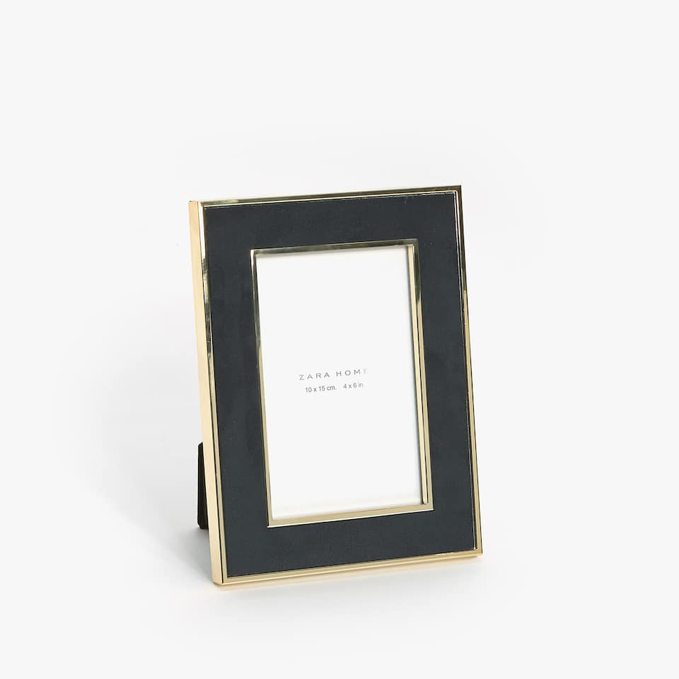 SUEDE FRAME WITH METAL BORDER