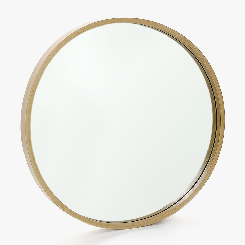 LARGE ROUND WOODEN MIRROR