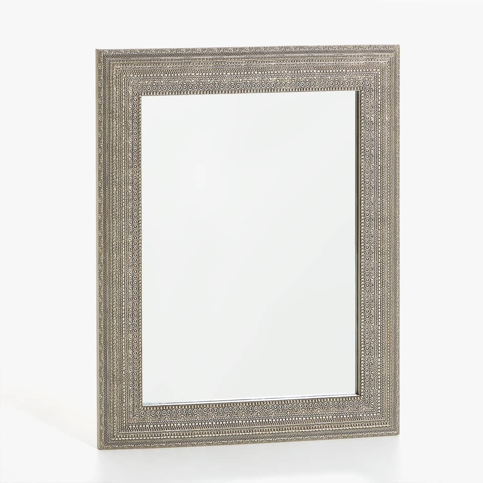 LARGE RAISED DESIGN FRAME MIRROR