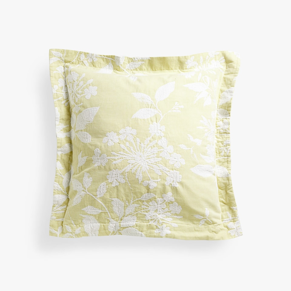 FLORAL JACQUARD COTTON CUSHION COVER