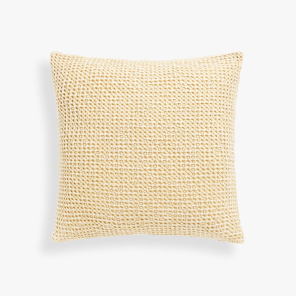 REVERSIBLE WAFFLE-EFFECT COTTON CUSHION COVER