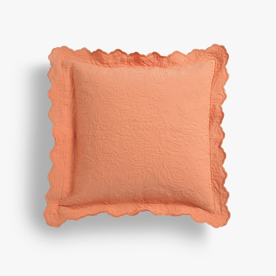COTTON CUSHION COVER WITH IRREGULAR TRIM