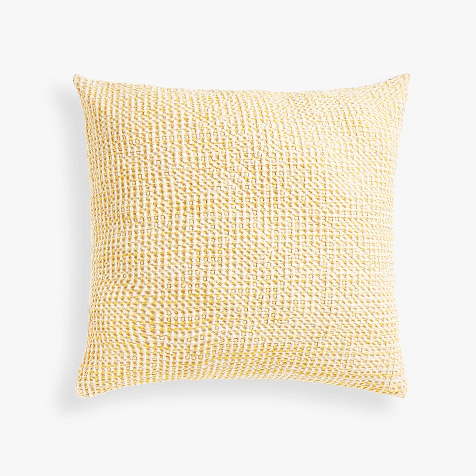 DYED THREAD WAFFLE-KNIT COTTON CUSHION COVER