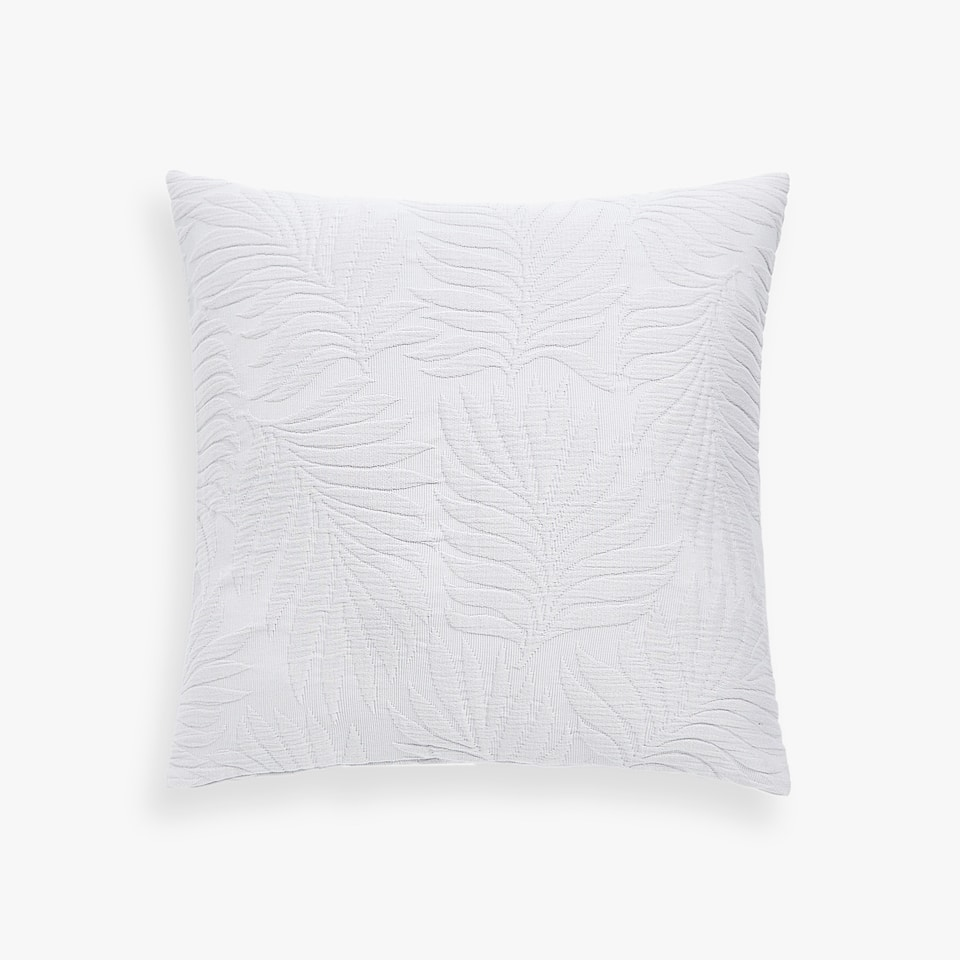 COTTON CUSHION COVER WITH PALM LEAF DESIGN