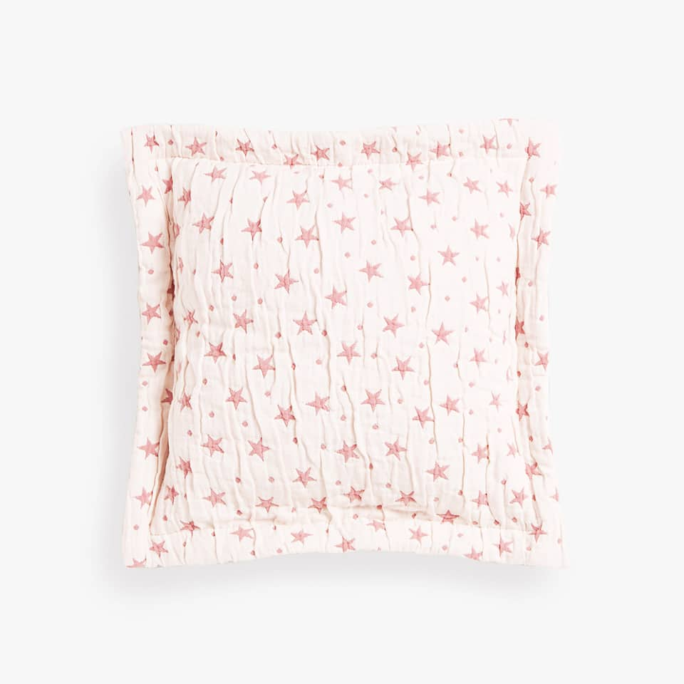 CONTRASTING STARS AND POLKA DOTS COTTON CUSHION COVER