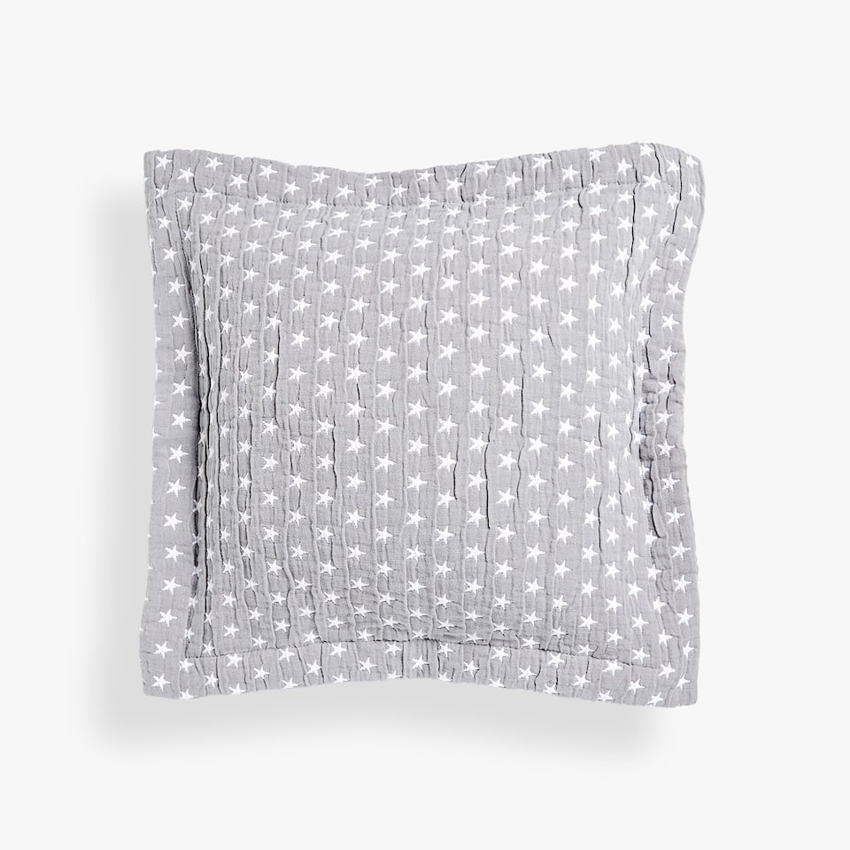 CONTRASTING STARS COTTON CUSHION COVER