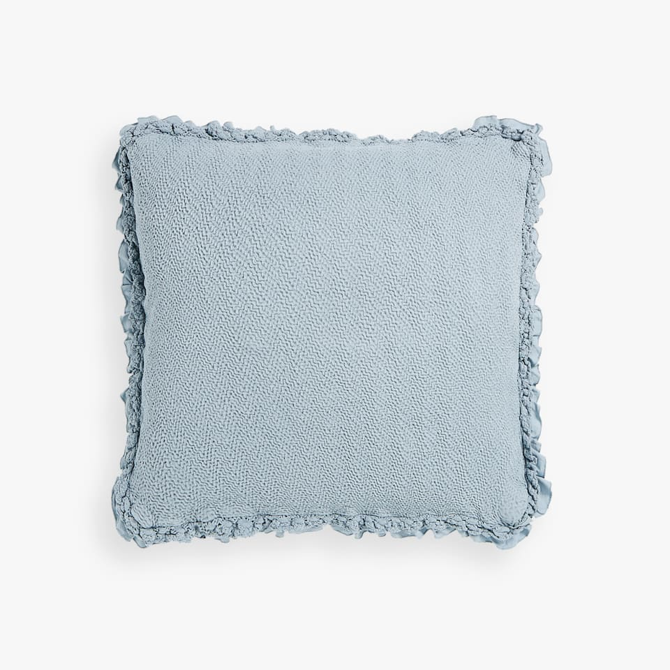 COTTON CUSHION COVER WITH LACE TRIM AND FRILL