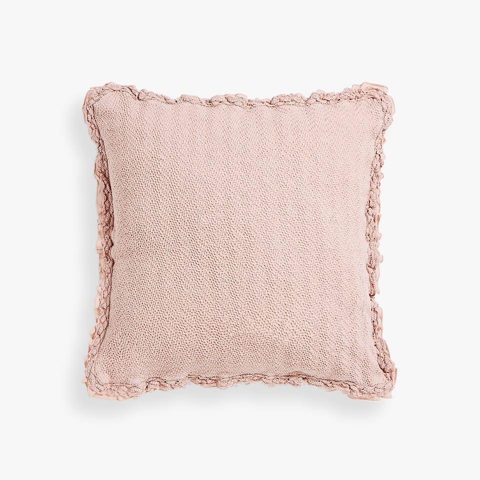 COTTON CUSHION COVER WITH LACE TRIM AND RUFFLE