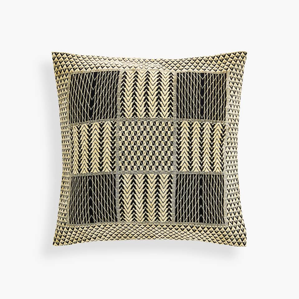 CHENILLE CUSHION COVER WITH CONTRASTING GEOMETRIC MOTIFS