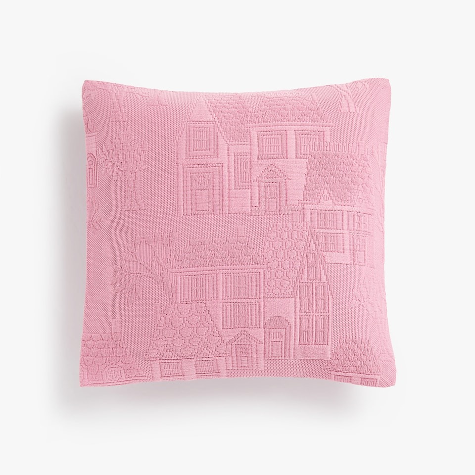 RAISED HOUSE DESIGN COTTON CUSHION COVER
