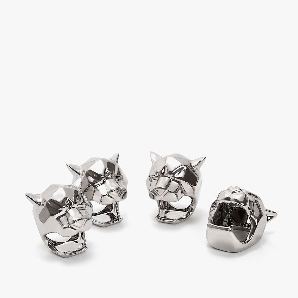 SILVER PLATED-EFFECT TIGER NAPKIN RING (PACK OF 4)