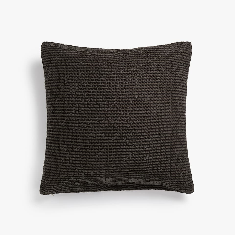 COTTON CUSHION COVER WITH CONTRASTING WAFFLE-EFFECT DESIGN
