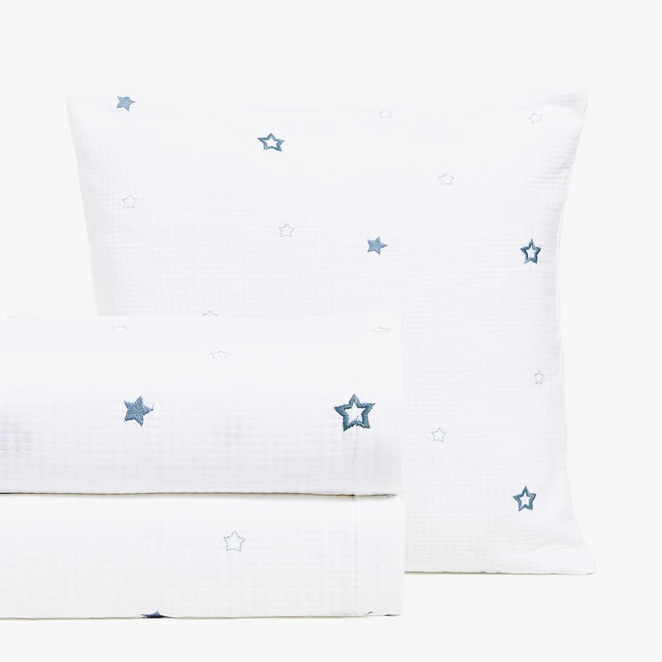 EMBROIDERED STARS COTTON BEDSPREAD