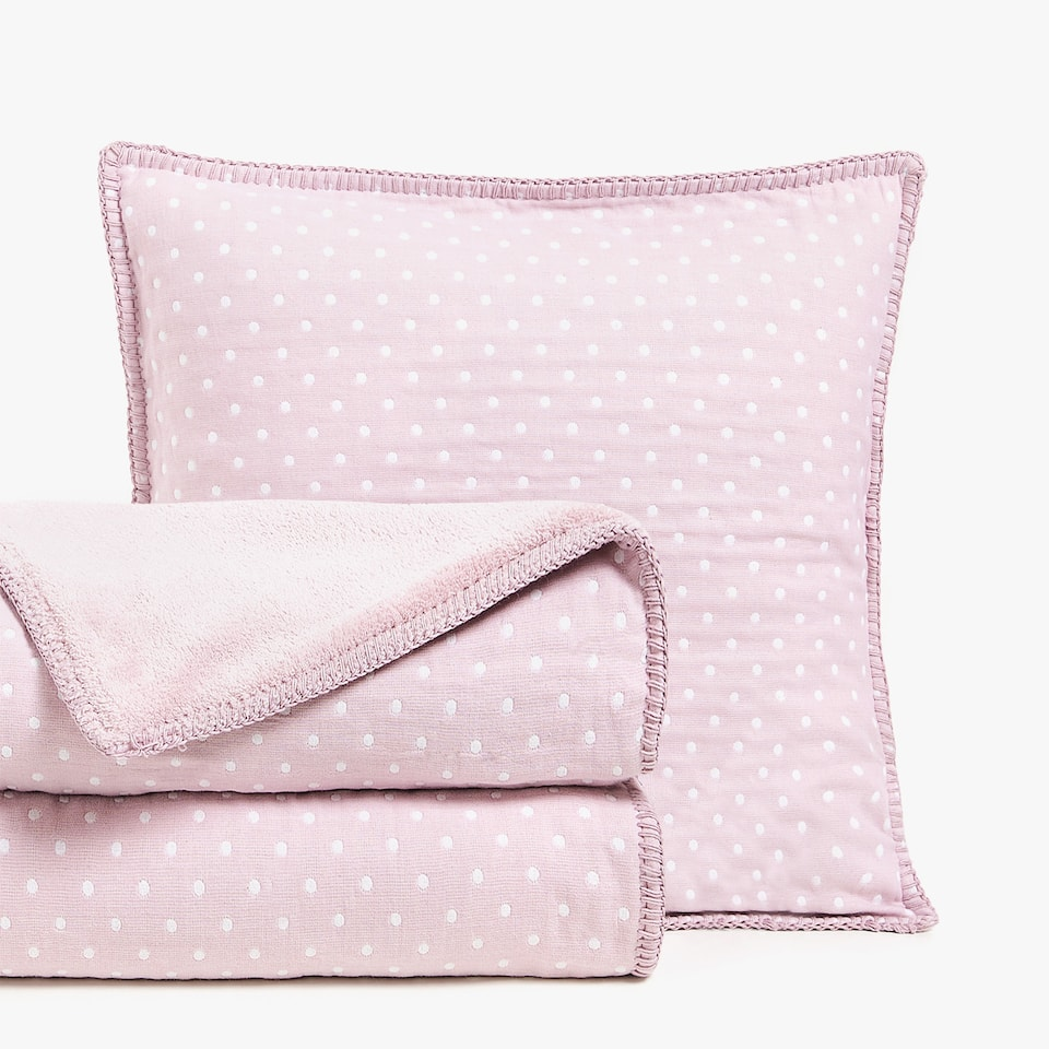 REVERSIBLE POLKA DOT COTTON BEDSPREAD