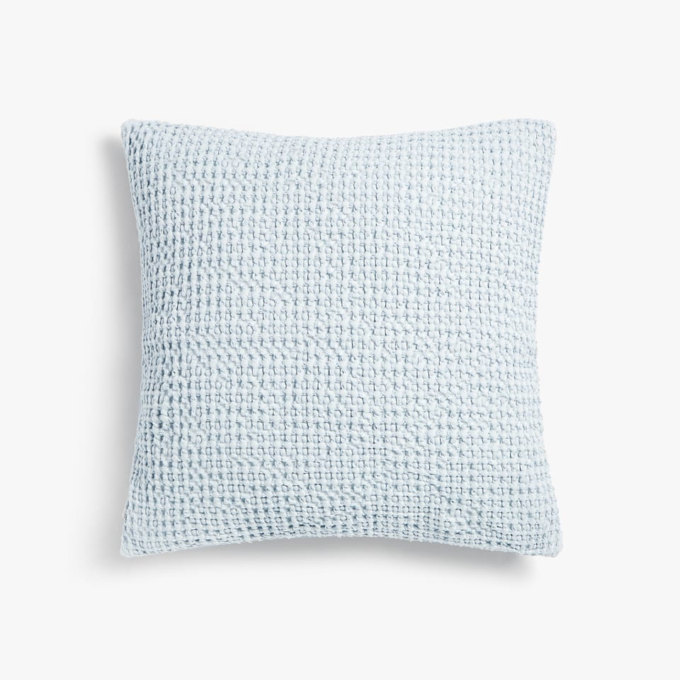WAFFLE-EFFECT COTTON CUSHION COVER WITH BORDER